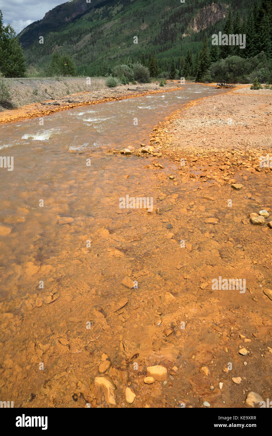 Water pollution, runoff from the Red Mountain Mine, Ouray County, Colorado, USA Stock Photo