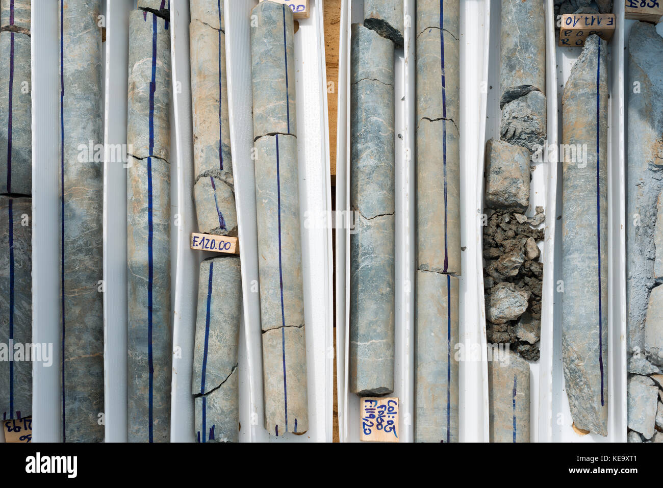Drill cores classified in a box - Stock Image