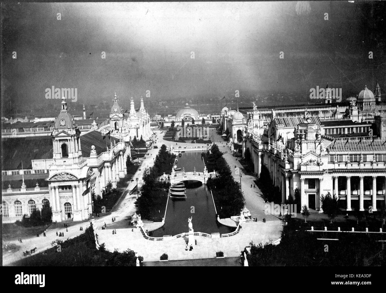 View from the west Restaurant Pavilion looking toward the Pike and including the Palaces of Electricity, Machinery, - Stock Image