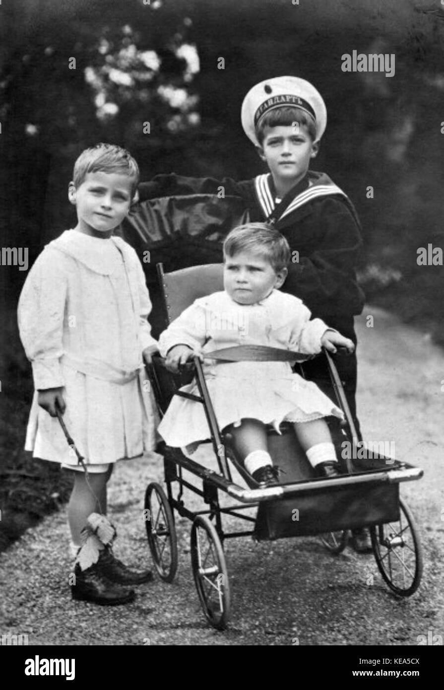 Tsesarevich Alexei with his cousins in Hesse - Stock Image
