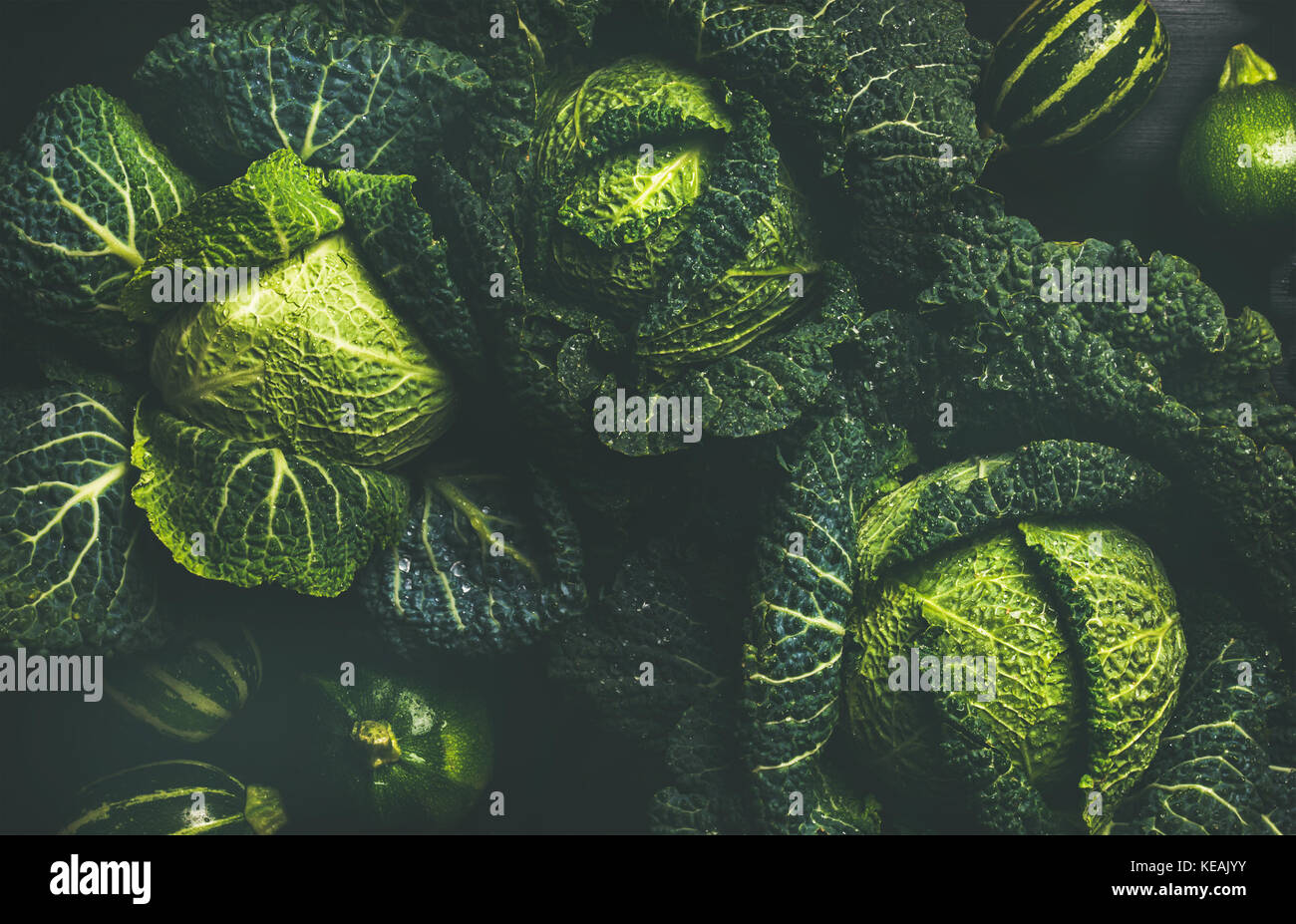 Raw fresh green cabbage texture and background, top view - Stock Image