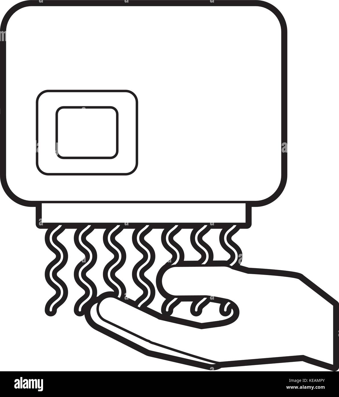 hand dryer automatic clean equipment icon - Stock Vector