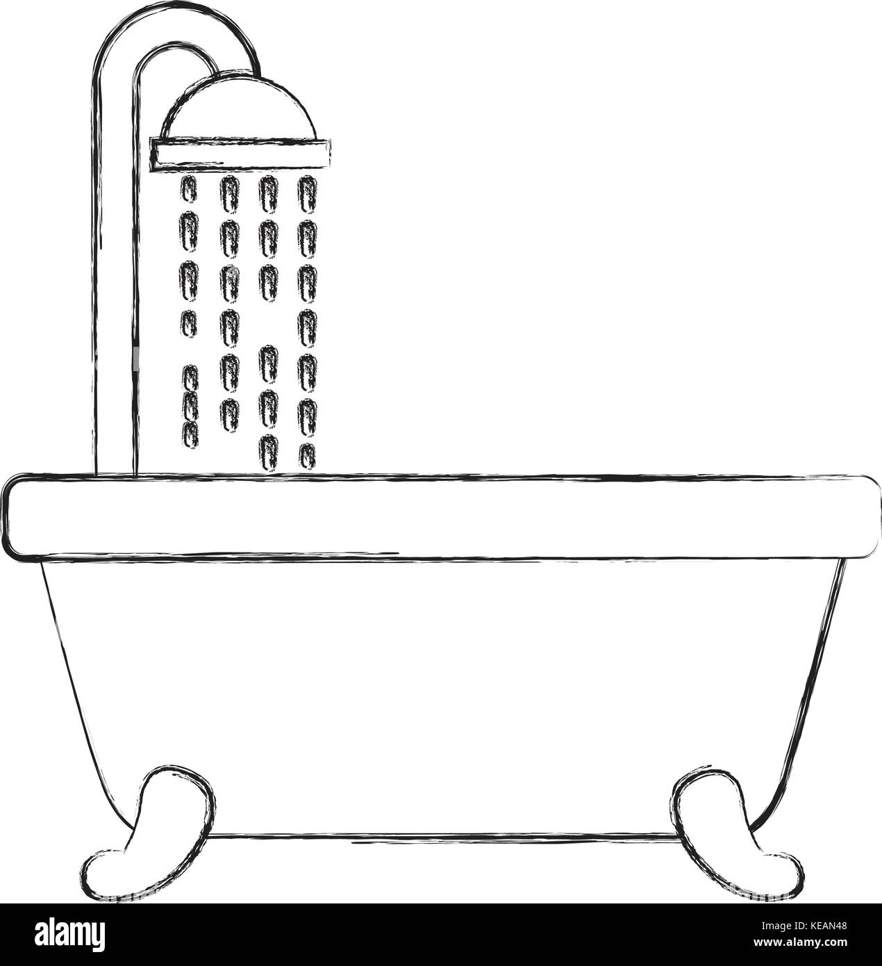 bathroom bathtub shower water curtain interior - Stock Image