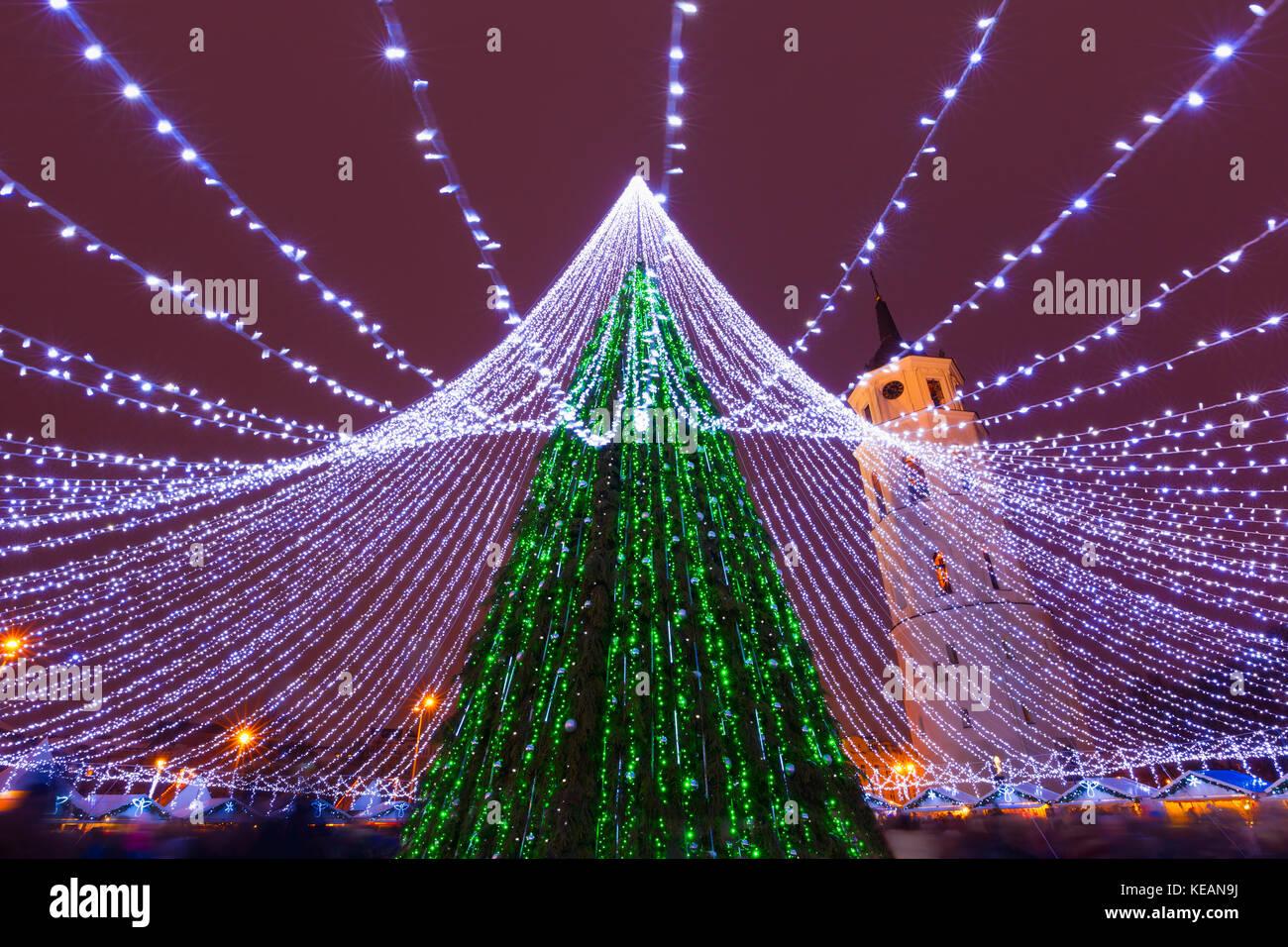 Christmas tree in Vilnius, Lithuania Stock Photo