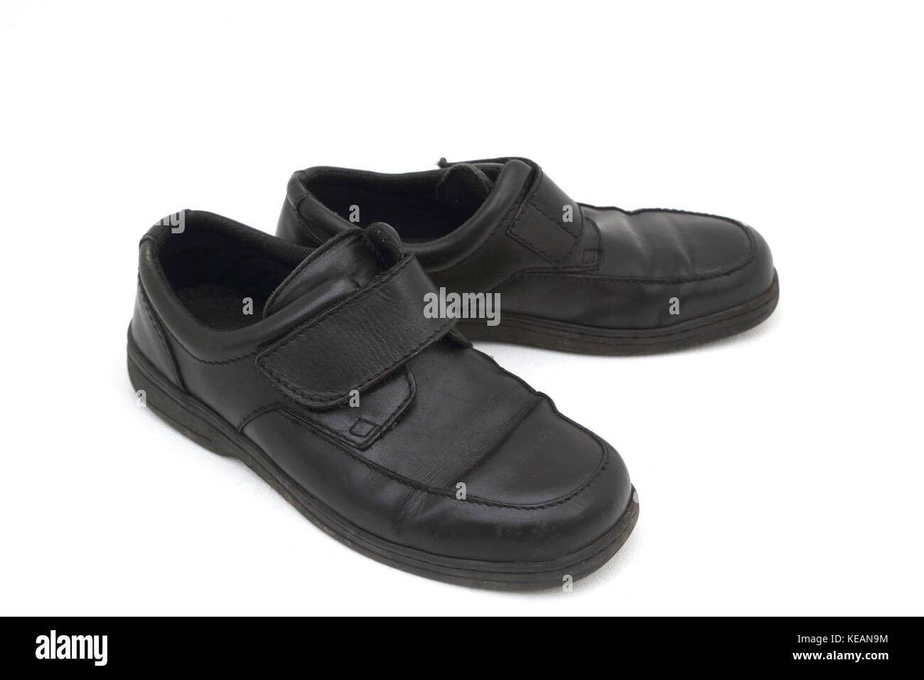 Men's Black Leather Shoes with Velcro - Stock Image