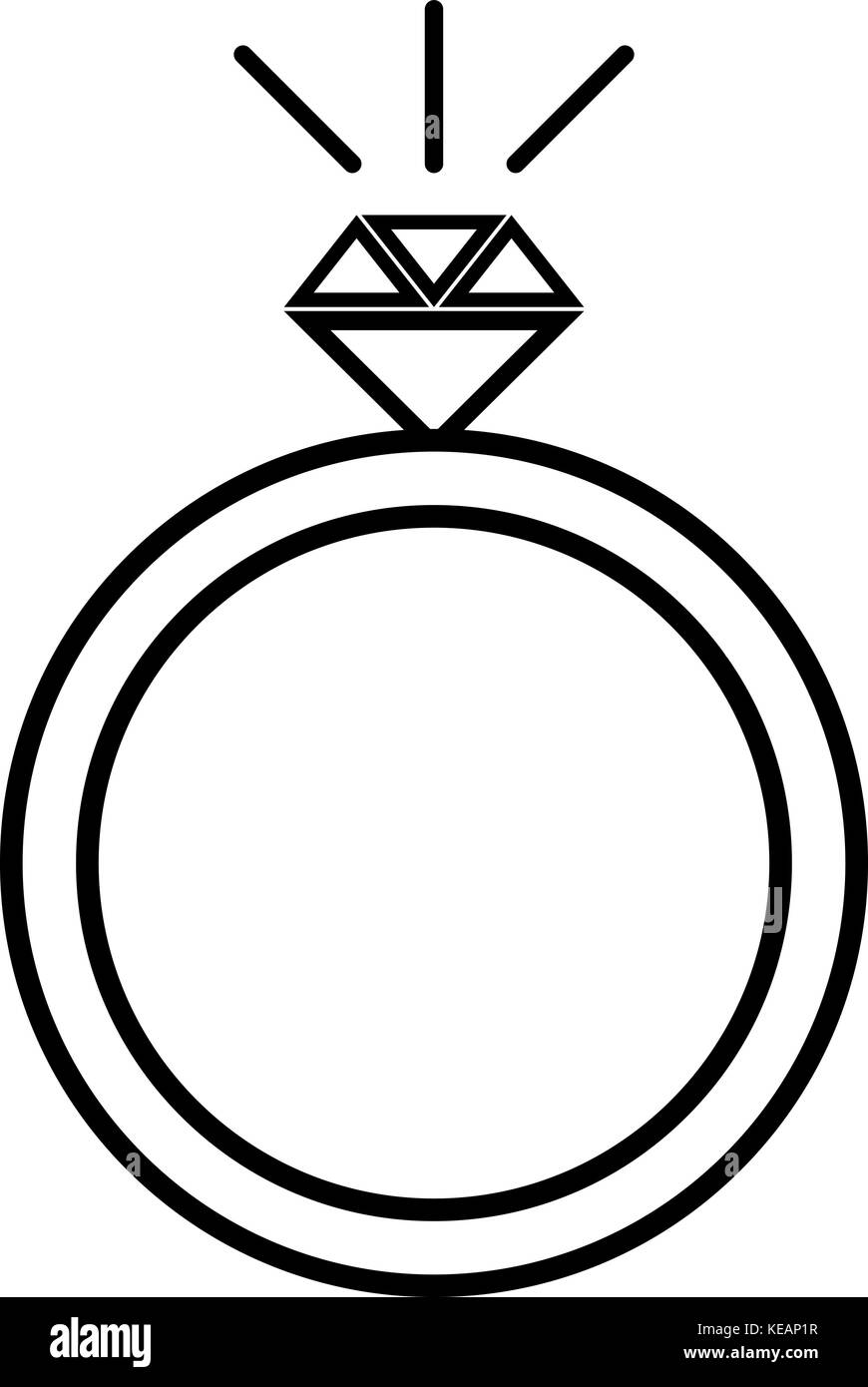 Diamond engagement ring icon . Simple illustration of diamond engagement ring vector icon for web design isolated - Stock Image