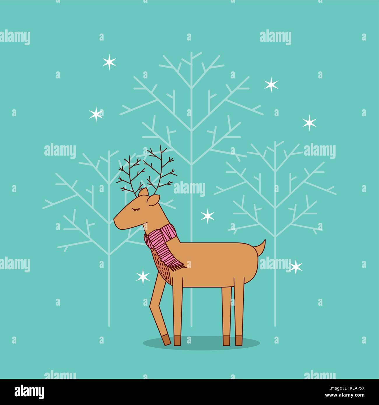 cue reindeer standing with scarf christmas decoration - Stock Vector