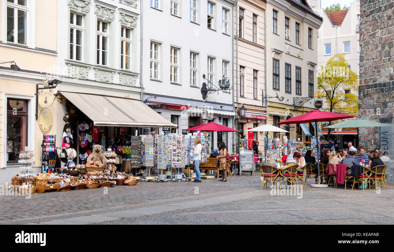 Nikolaivertel with shops and cafes, Berlin, Germany - Stock Image