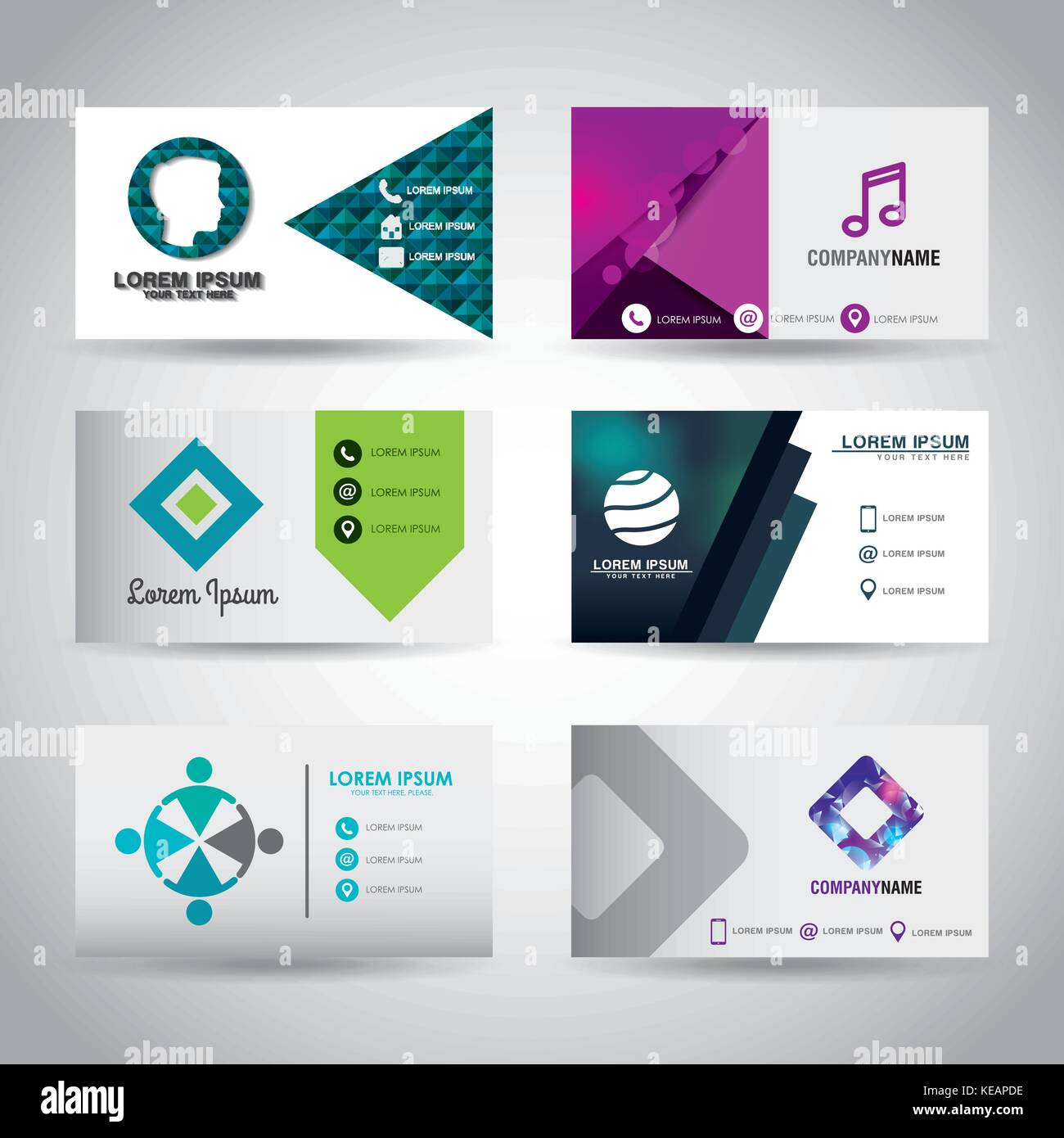 Set of themed business card presentation templates stock vector art set of themed business card presentation templates accmission Choice Image
