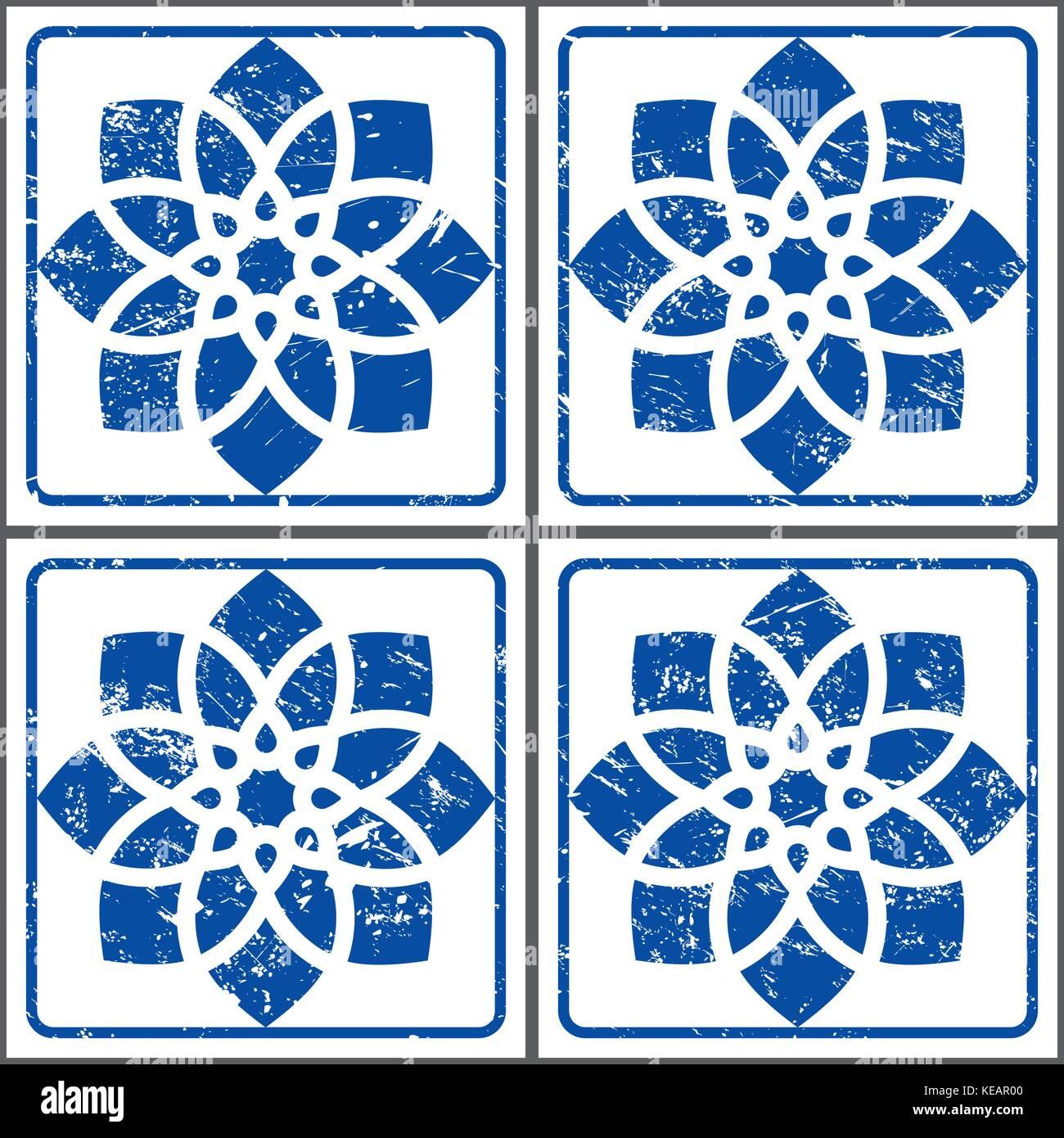 Azulejos retro vector tiles pattern, Portuguese seamless blue tiles design, Geometric ceramics - Stock Vector