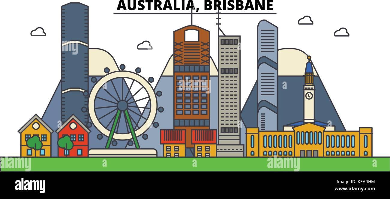 Australia, Brisbane. City skyline architecture, buildings, streets, silhouette, landscape, panorama, landmarks. - Stock Image
