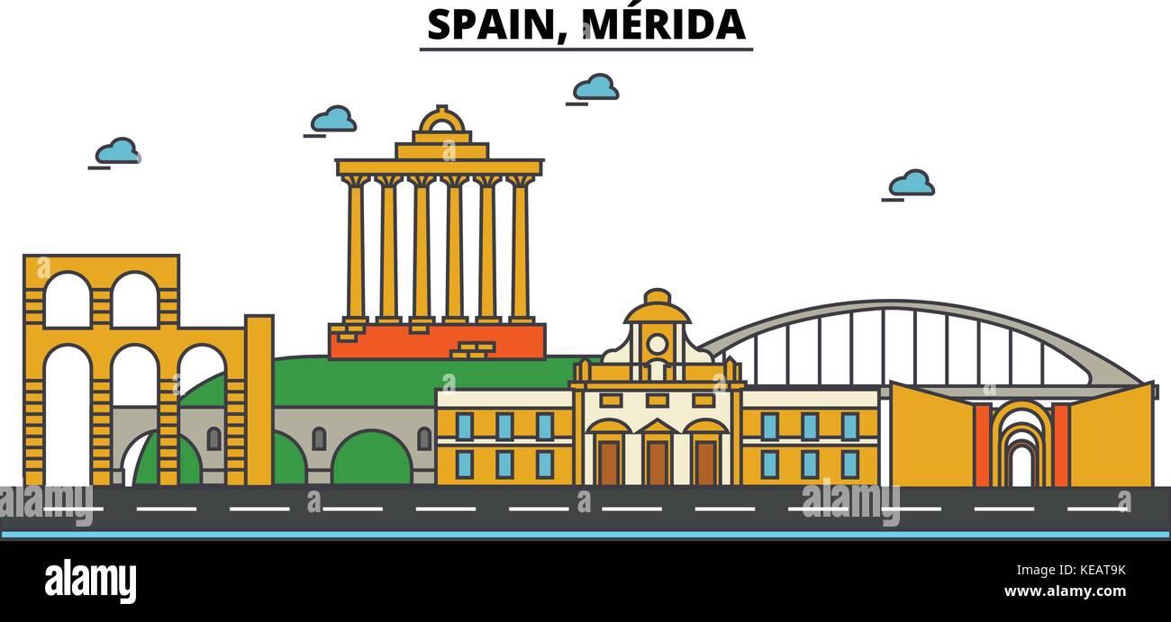 Spain, Merida. City skyline architecture, buildings, streets, silhouette, landscape, panorama, landmarks. Editable Stock Vector