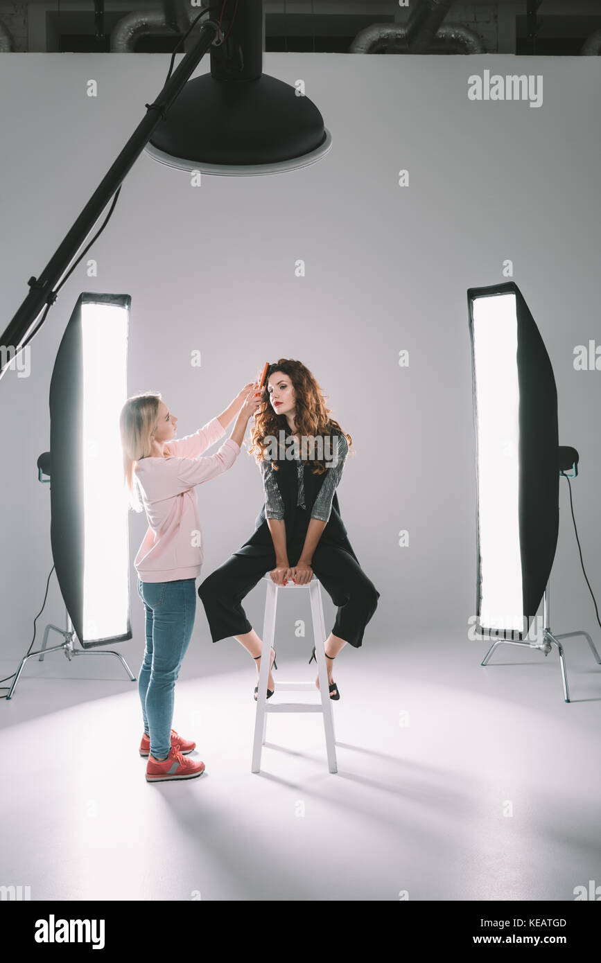 model and hair stylist  - Stock Image