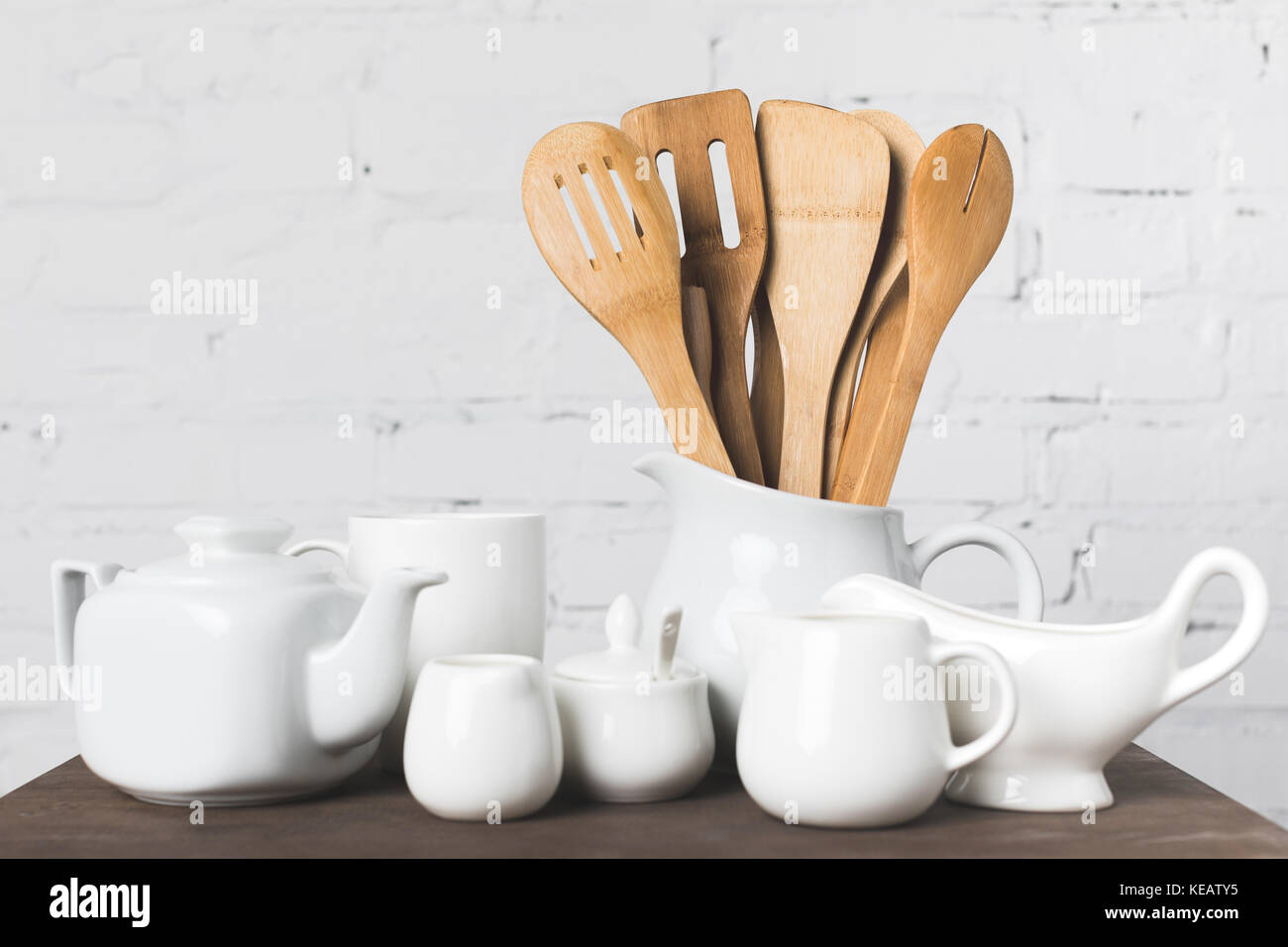 wooden kitchen utensils - Stock Image