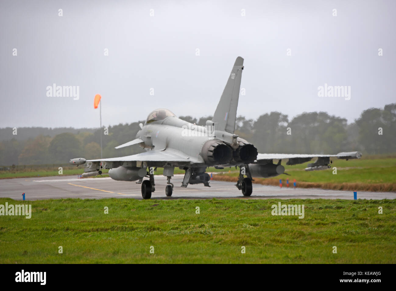 The UKs Eurofighter Typhoon a twin engined Canard-delta Wing fast jet fighter some of which are based at RAF lLossiemoputh - Stock Image