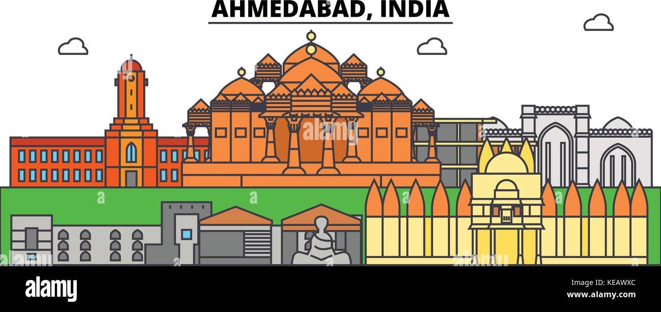 Ahmedabad, India, asian. City skyline, architecture, buildings, streets, silhouette, landscape, panorama, landmarks. - Stock Vector