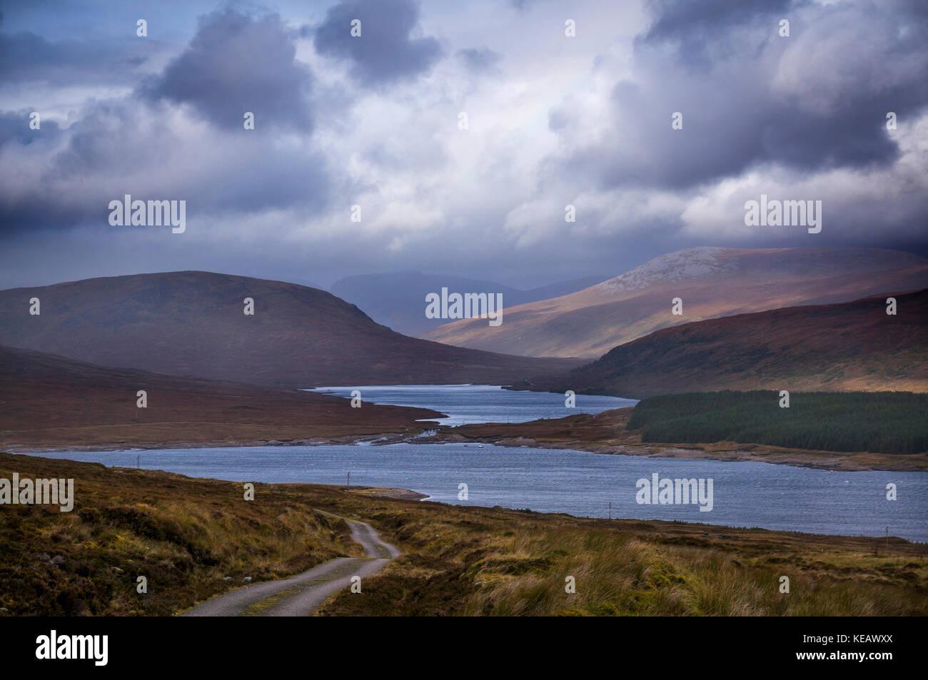 Loch Shin in Sutherland, Scottish Highlands, UK - Stock Image