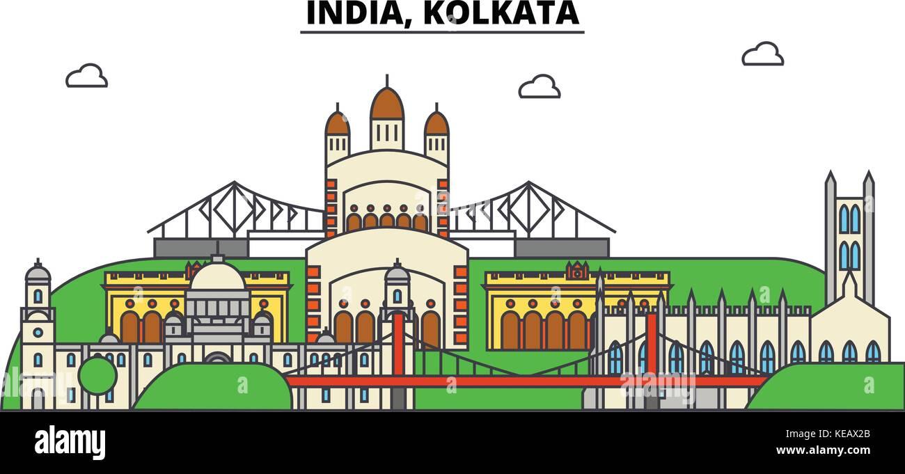 India, Kolkata, Hinduism. City skyline, architecture, buildings, streets, silhouette, landscape, panorama, landmarks. - Stock Vector