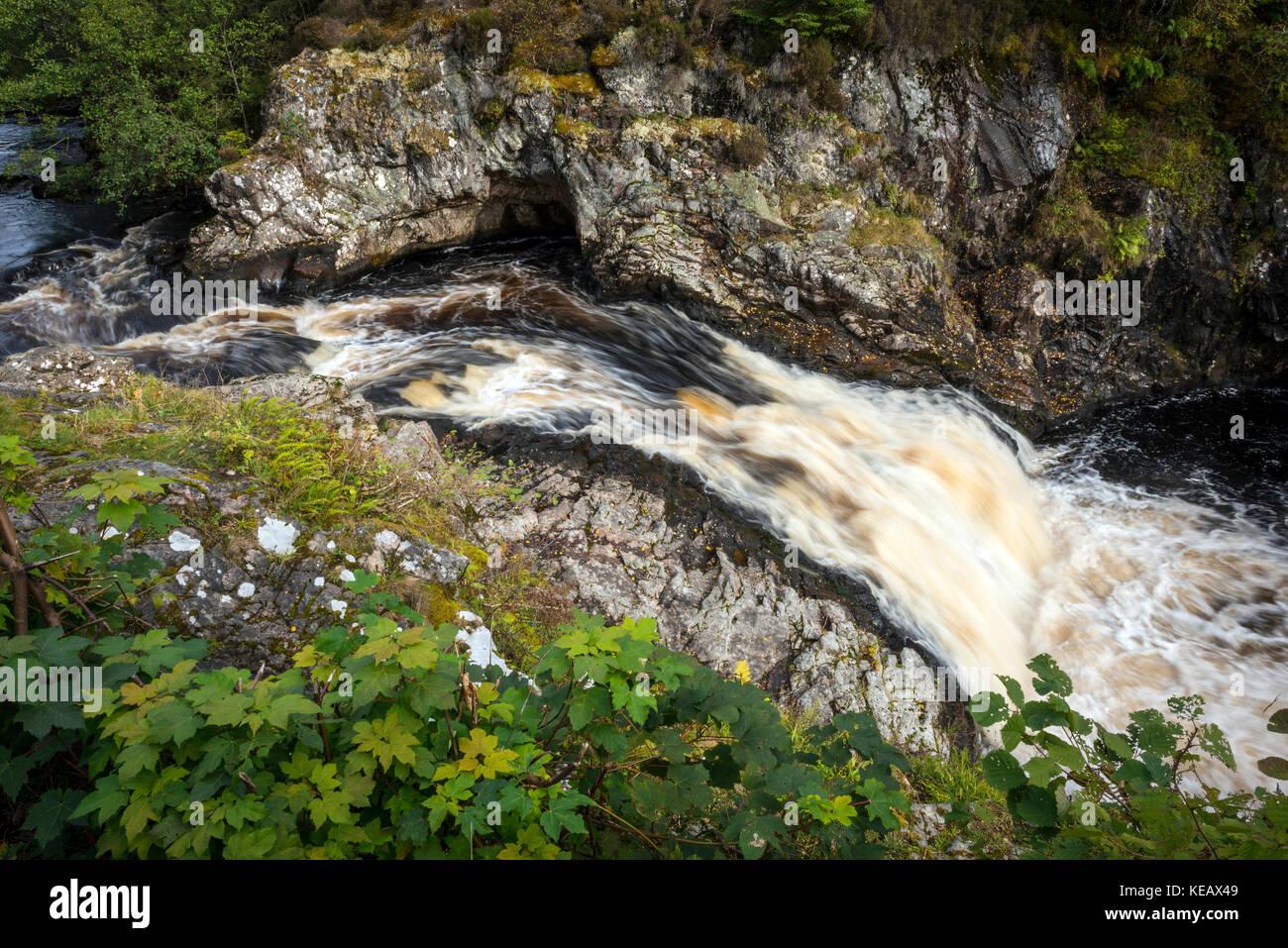 The Falls of Shin near Lairg in Sutherland, Scottish Highlands, UK Stock Photo