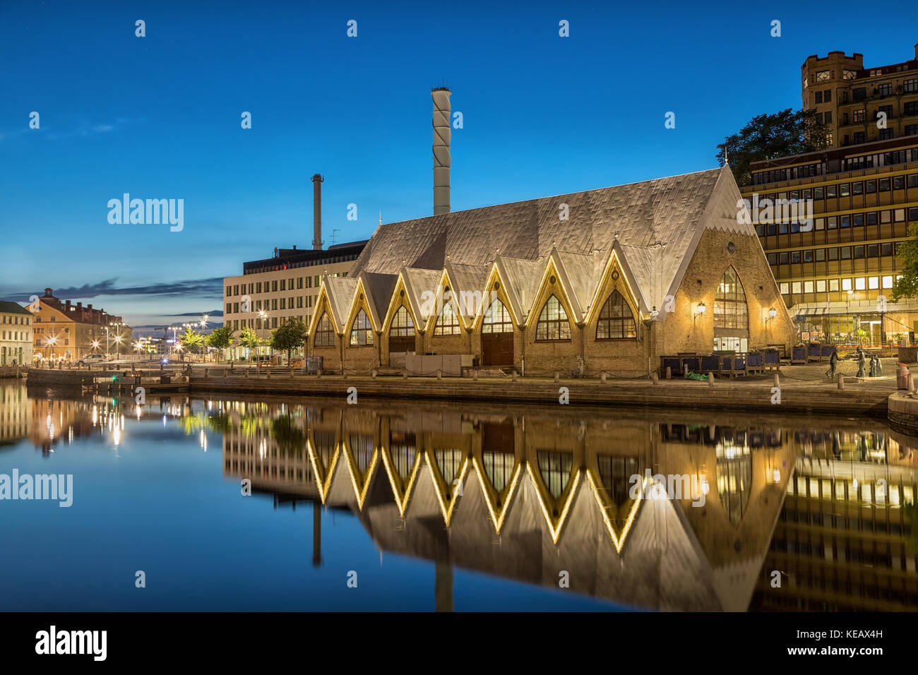 Feskekorka (Fish church) is an indoor fish market in Gothenburg, Sweden, which got its name from the building's - Stock Image