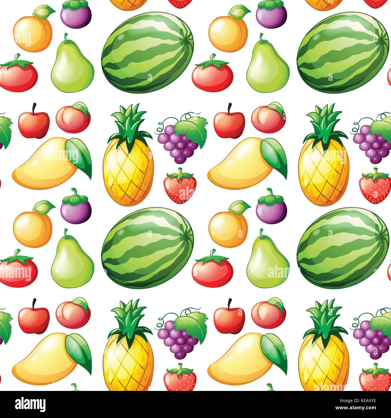 Seamless different kind of fruits Stock Vector