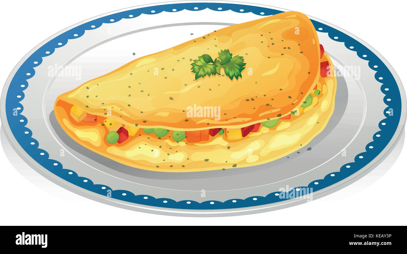 Illustration of a plate of omelet - Stock Vector