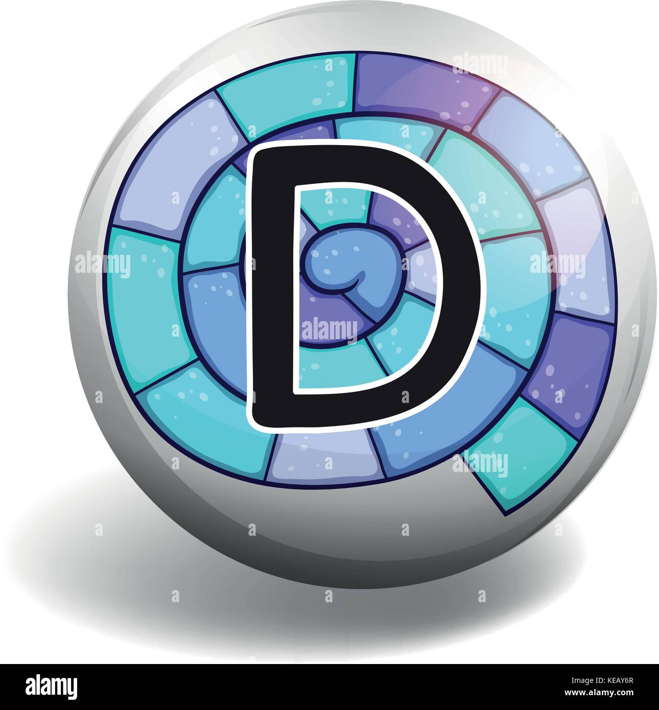 Letter D on spiral background - Stock Vector