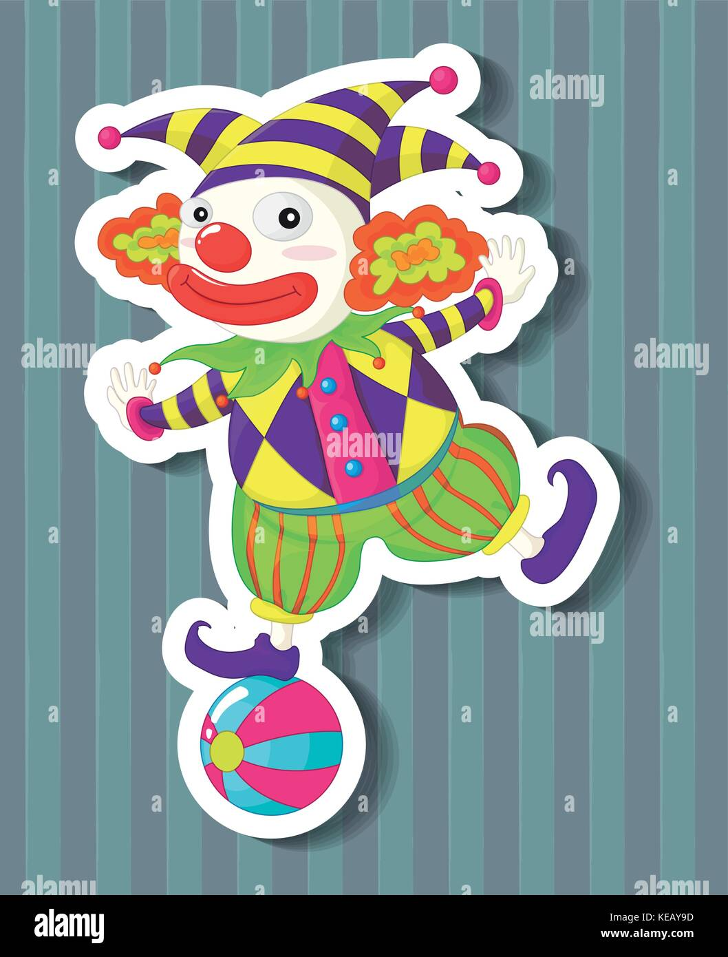 Closeup silly jester standing on a ball - Stock Vector