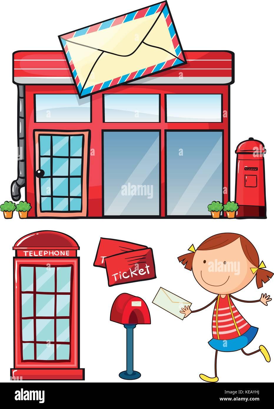Post office an postal service set - Stock Vector