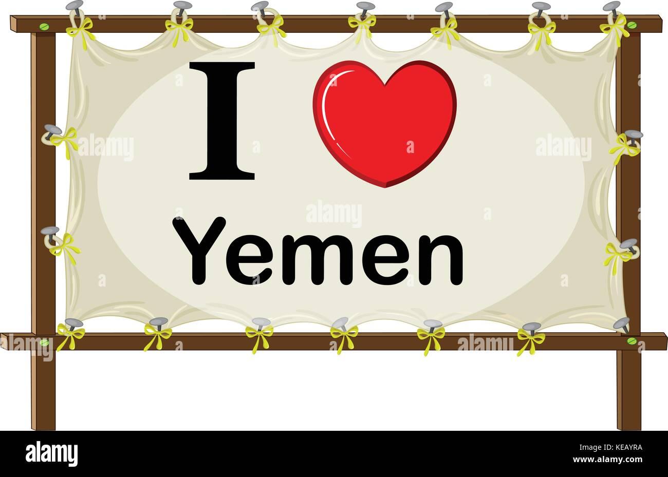 I love Yemen in wooden frame - Stock Vector