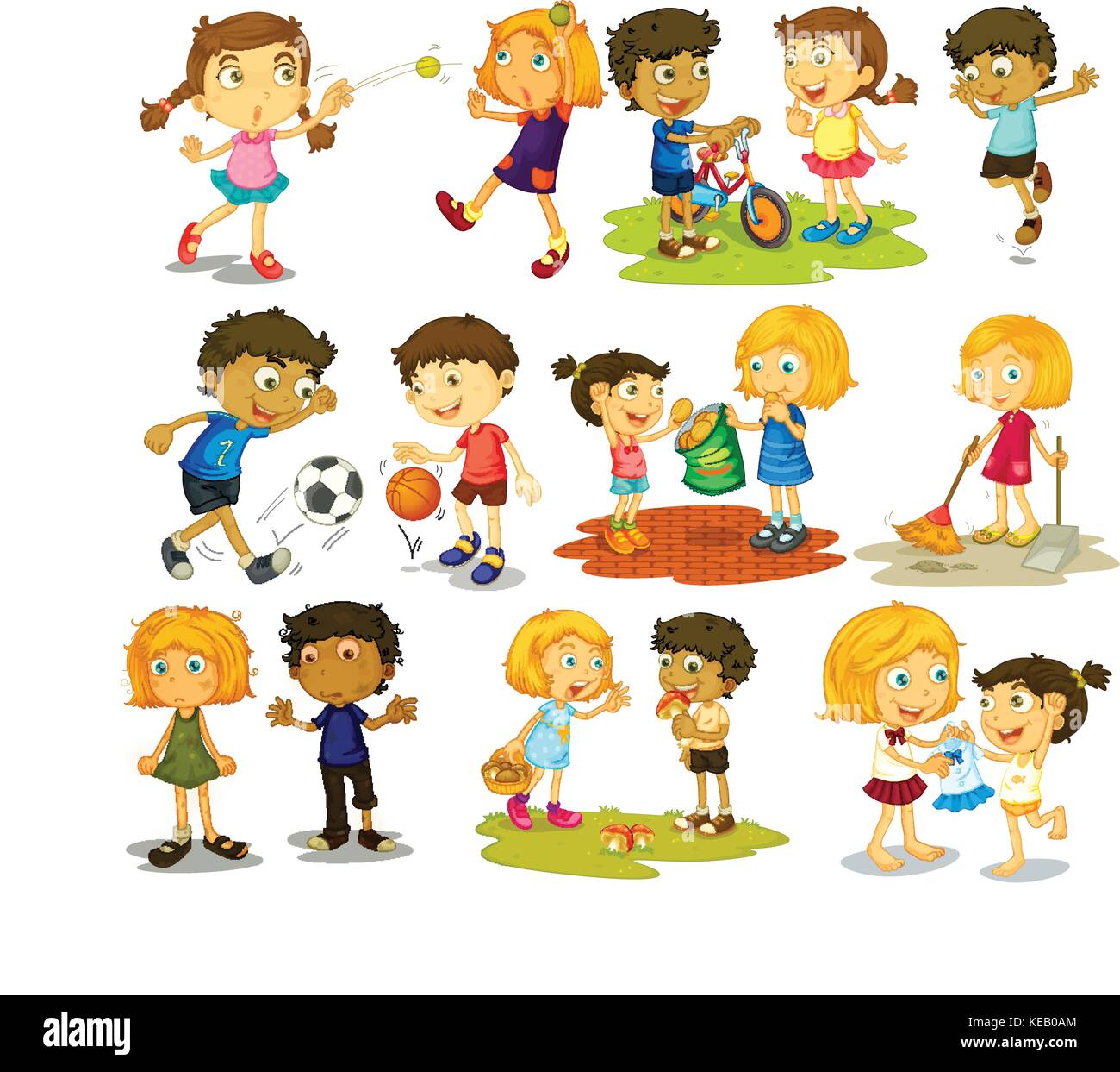 Illustration Of Children Doing Different Sports And Activities Stock