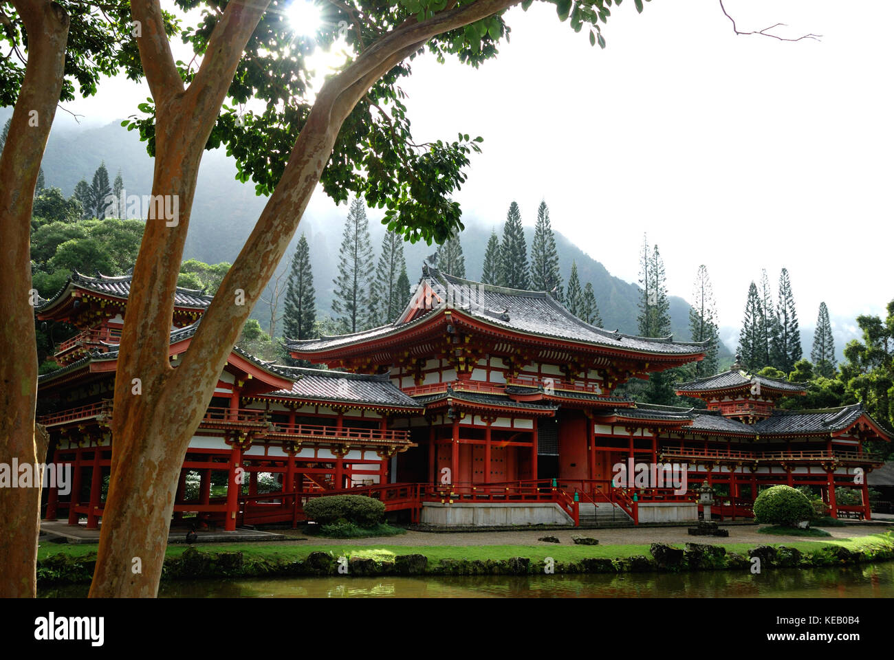 The Byodo-In Temple on the island of Oahu, Hawaii, is a small scale replica of that in Japan which is a World Heritage - Stock Image