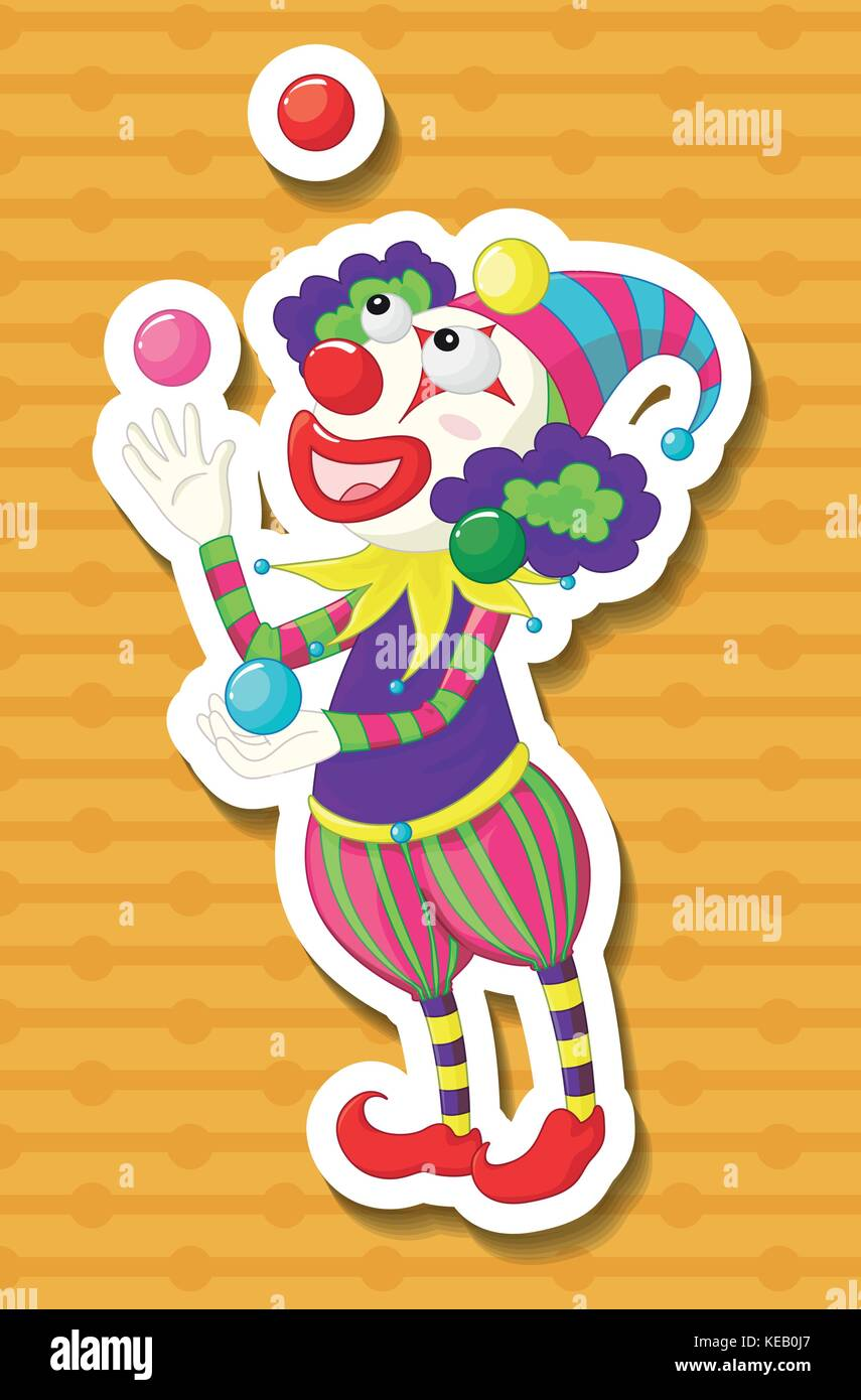 Clown juggling balls with yellow background - Stock Vector