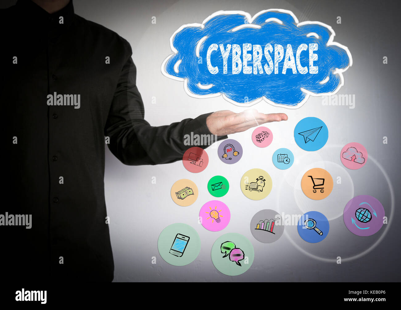 Cyberspace concept. Cloud and and icons. Business background - Stock Image