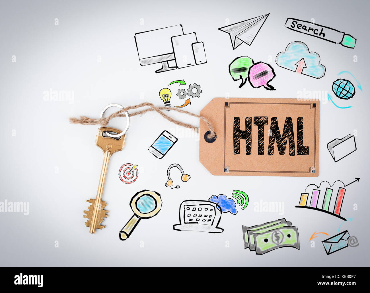 HTML Computer Coding, Website Concept. Key and note on white background  - Stock Image