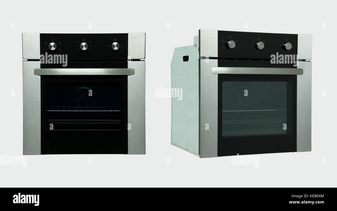 A Modern Kitchen Oven In Two Positions On A White Background