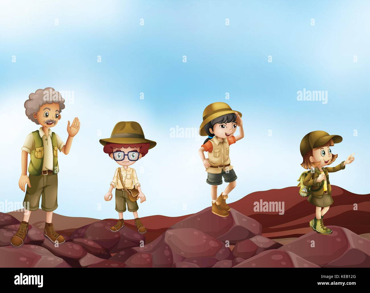 Illustration of many children in scout uniform - Stock Vector