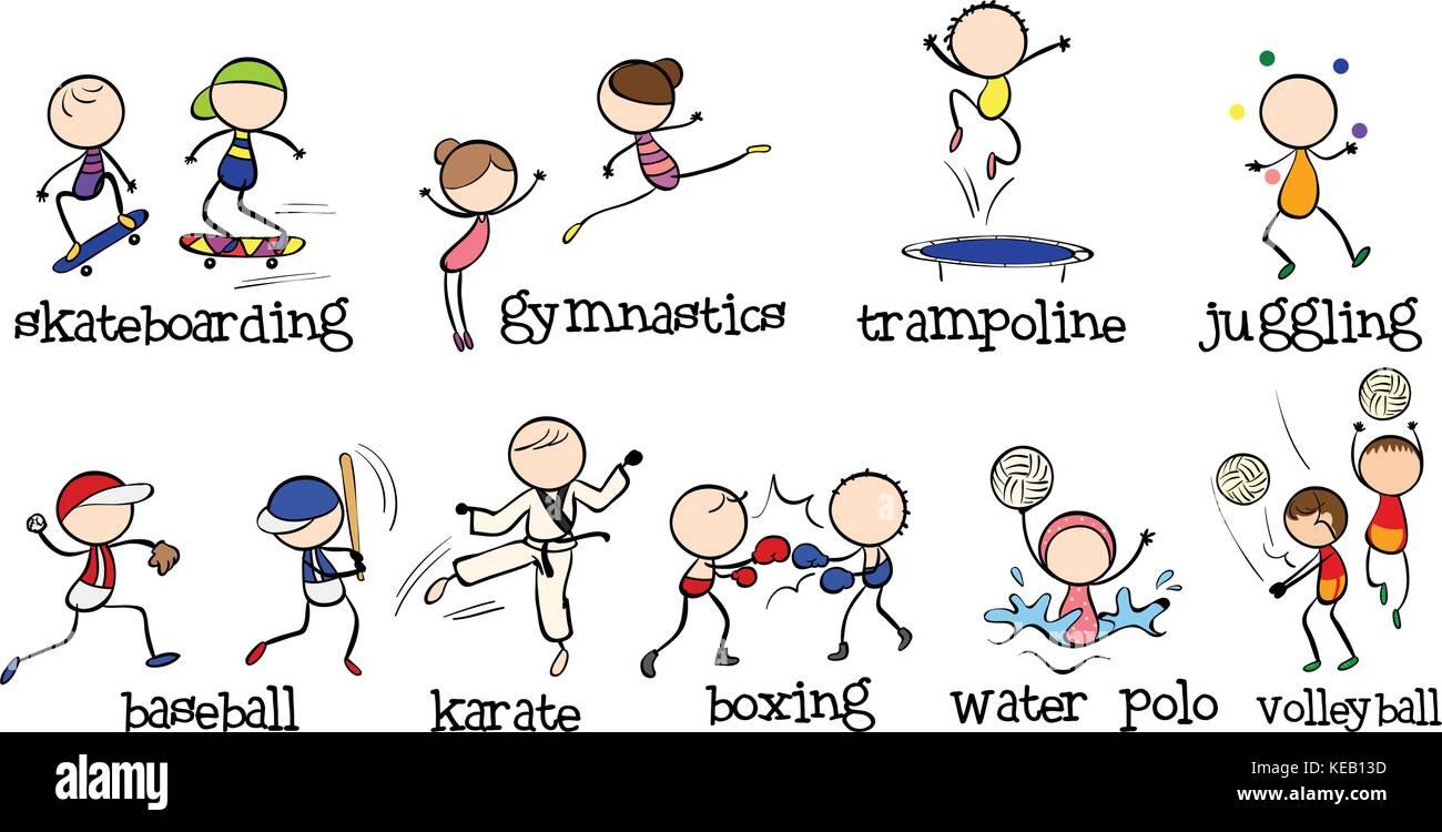 sports different kinds doodles alamy