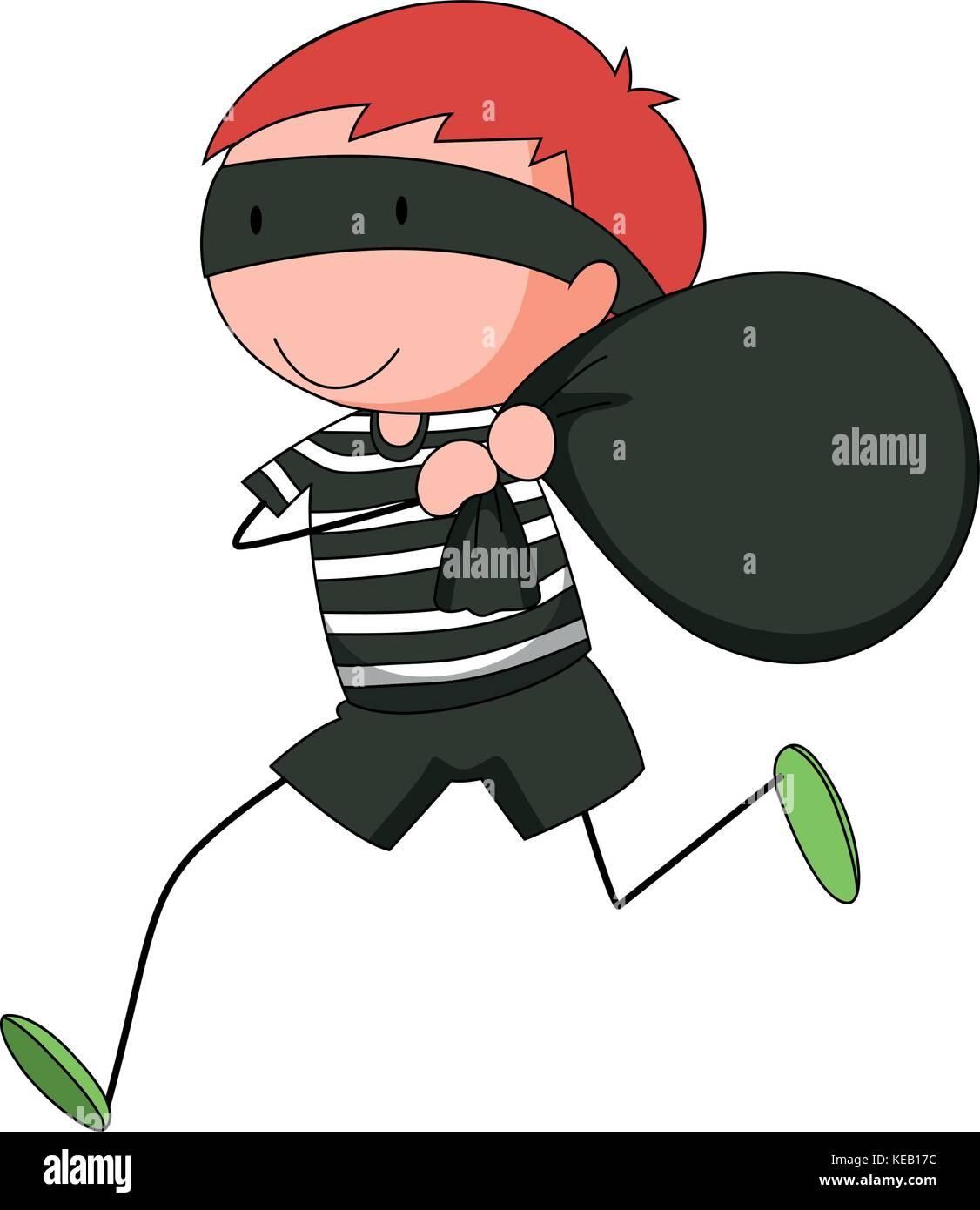 Closeup robber running away with a stolen bag Stock Vector