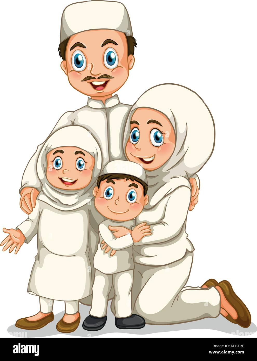 Muslim Family With Father And Mother Stock Vector Image Art Alamy