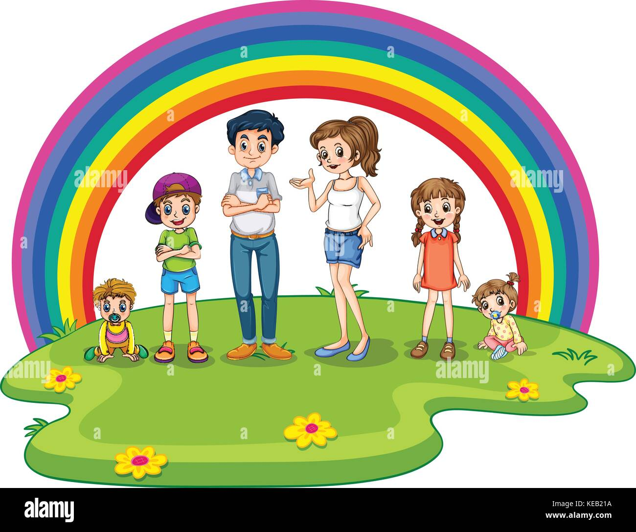 Family members in the park - Stock Vector