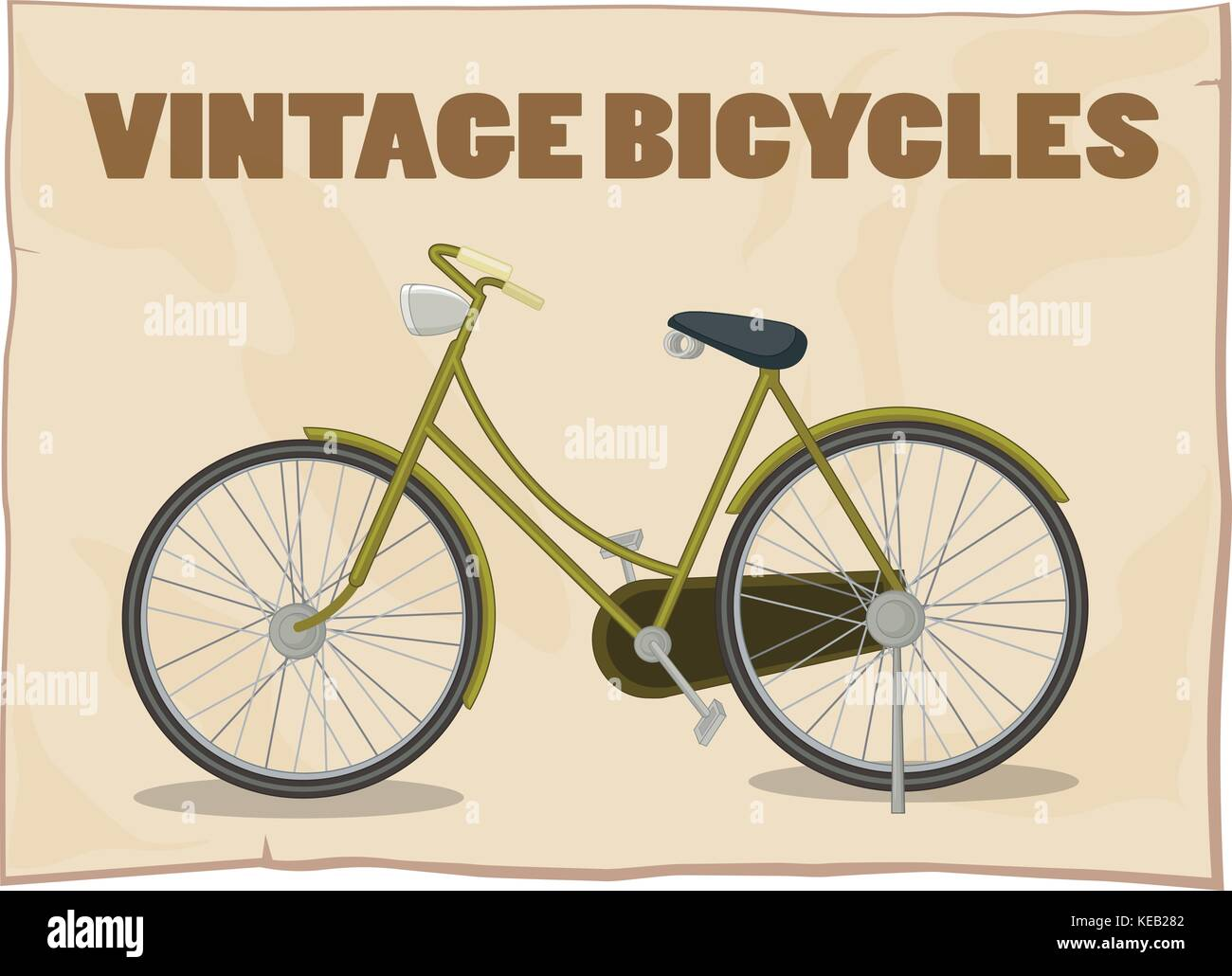 Single vintage bicycle on the poster - Stock Image