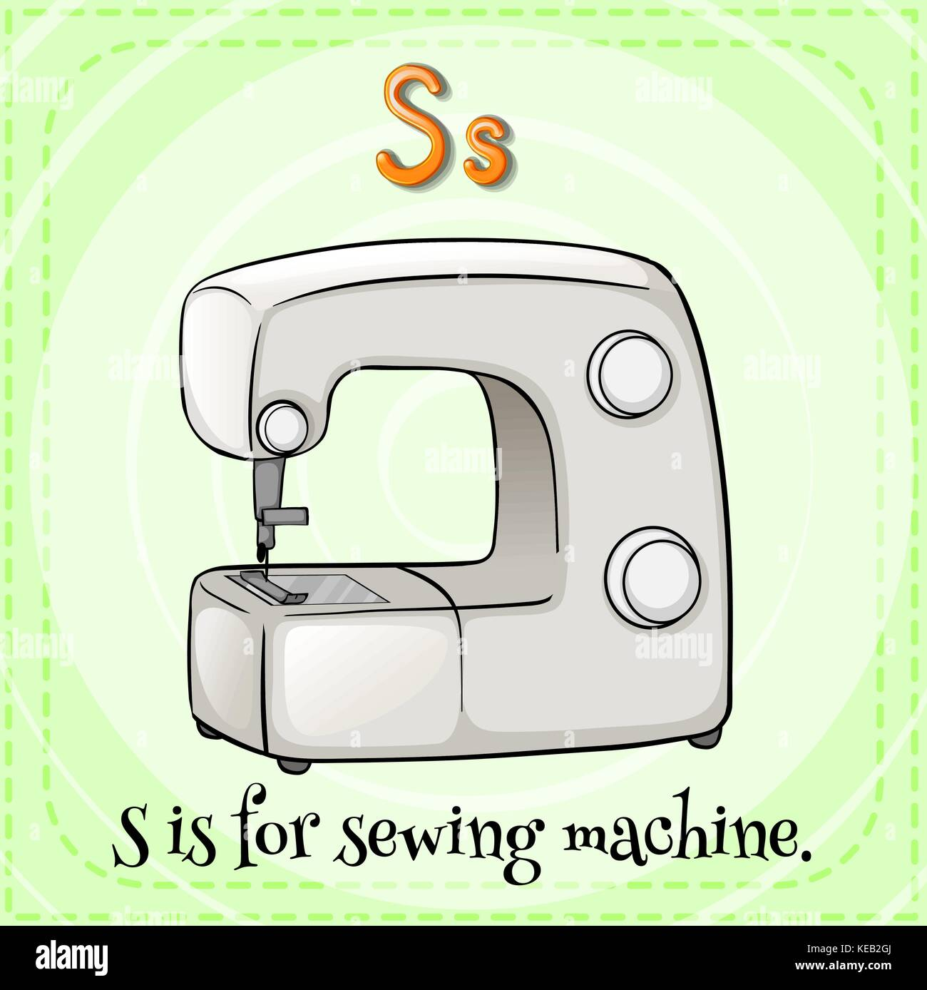 Flashcard letter S is for sewing machine - Stock Vector