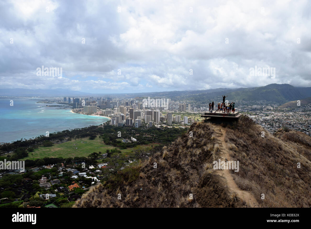 Hiking up to the summit of Diamond Head on the island of Oahu, Hawaii, offers spectacular views of the ocean below. - Stock Image
