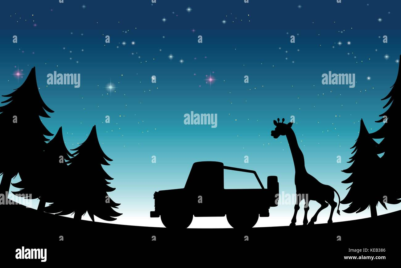 Christmas Jeep Silhouette.Silhouette Jeep And Giraffe At Night Time Stock Vector Art