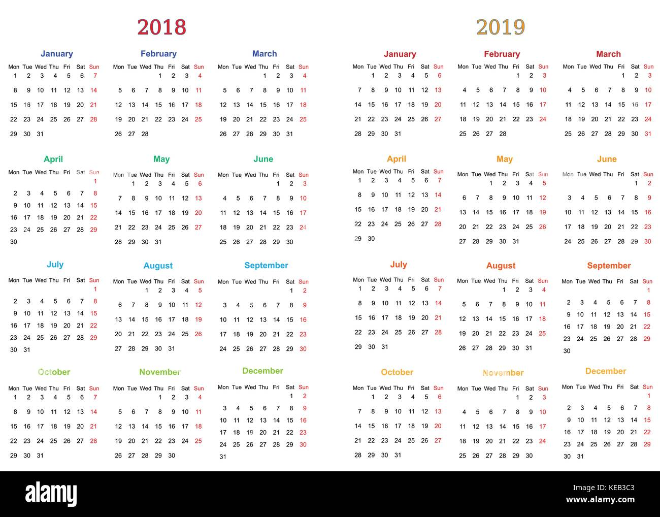 photo about Printable 12 Month Calendar named 12 weeks Calendar Design and style 2018-2019 printable and editable