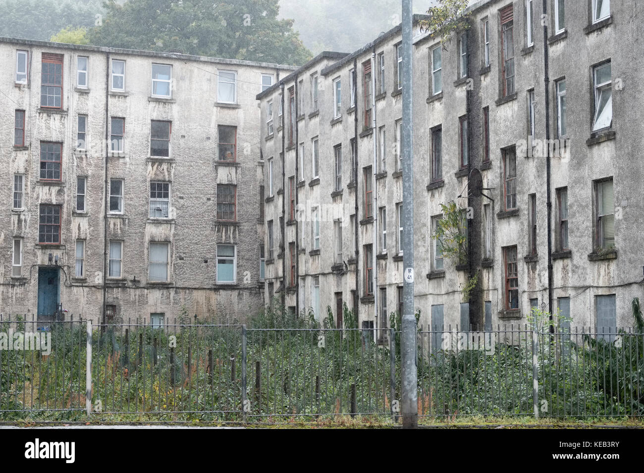 Poor Council Housing Flats For Rent and Sale Port Glasgow Stock Photo
