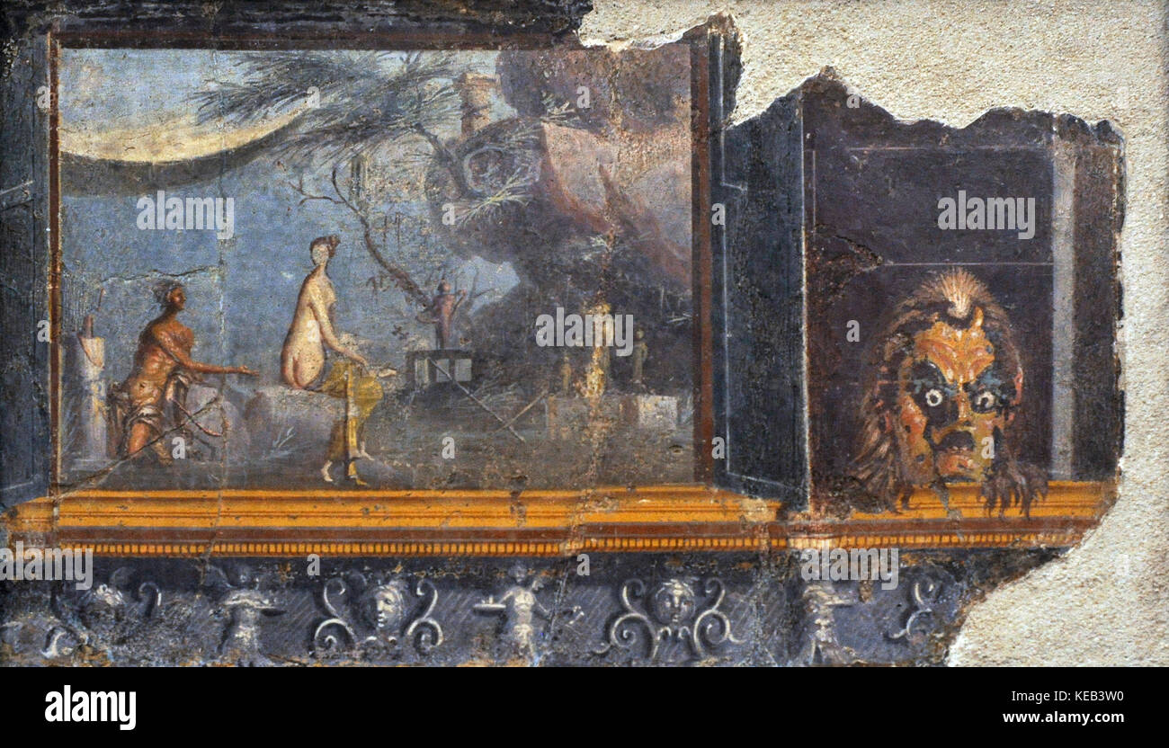 Roman fresco depicting a panel with doors with a mask of Silenus. To the left, the encounter of Acis and Galatea - Stock Image