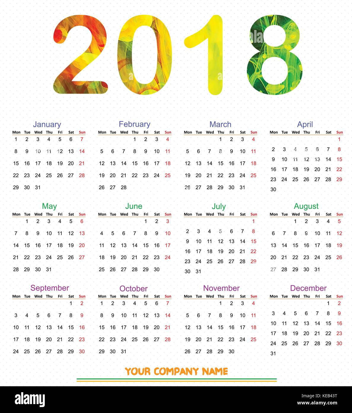 12 months calendar design 2018 printable and editable