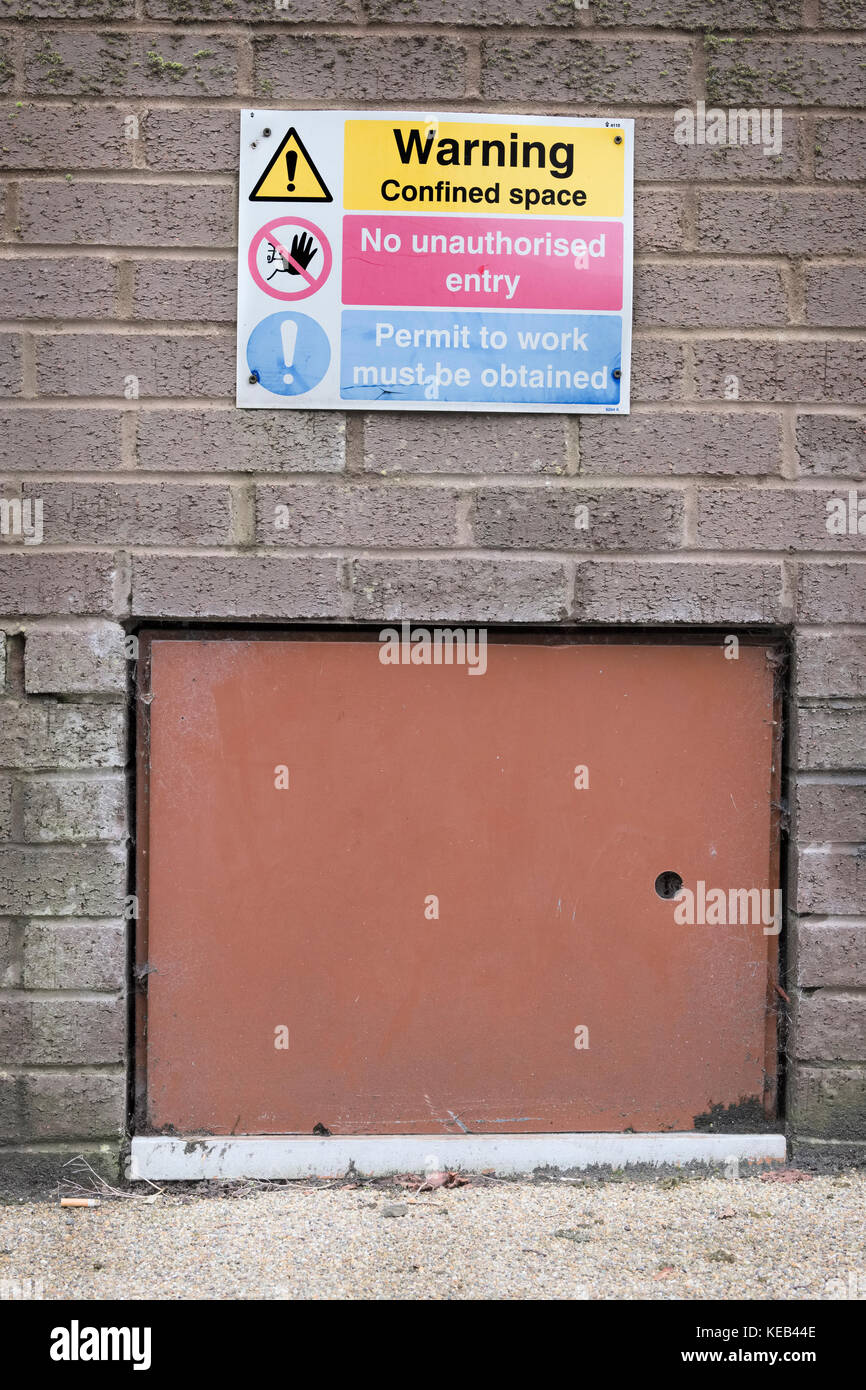 Confined Space Health and Safety Warning Sign - Stock Image